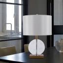 Straight Sided Shade Task Lighting Modernist Fabric 1 Bulb Small Desk Lamp in Gold
