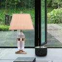 Clear Crystal Jar Desk Light Modern 1 Bulb Gold Table Lamp with Pagoda Fabric Shade