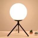 Modernist 1 Head Task Lighting Black Globe Small Desk Lamp with White Glass Shade