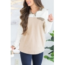 Simple Thickened Long Sleeve Stand Collar Press Button Colorblocked Relaxed Fit Pullover Sweatshirt for Women