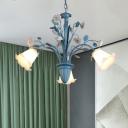 Korean Garden Floral Ceiling Chandelier 3/5/6 Bulbs Opal Glass Pendant Lighting Fixture in Blue