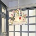 Scalloped Dining Room Chandelier Lighting Traditional Milk Glass 3 Heads Green/White LED Pendant Light