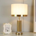 Cylindrical Nightstand Lamp Contemporary Fabric 1 Bulb Reading Book Light in White/Black