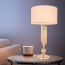 Gold Cylinder Table Light Modernist 1 Bulb Fabric Small Desk Lamp for Living Room