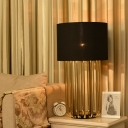 Fabric Cylindrical Task Lighting Contemporary 1 Bulb Night Table Lamp in Black