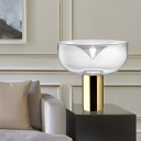 Urn Clear Glass Task Lighting Modern 1 Head Gold Small Desk Lamp for Living Room