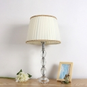 Oval Cut Crystal Task Lighting Modernism 1 Bulb White Small Desk Lamp with Fabric Shade
