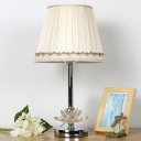 Fabric Flared Desk Light Modernism 1 Bulb White Night Table Lamp with Crystal Lotus
