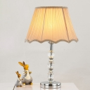 Contemporary Oblong Task Lighting Beveled Crystal 1 Head Night Table Lamp in Beige