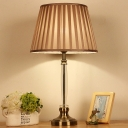 1 Head Flare Table Light Modernism Fabric Small Desk Lamp in Light Brown for Study