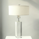 Rectangle Clear Crystal Task Light Modern 1 Bulb White Study Lamp with Fabric Shade