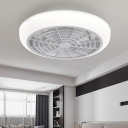 Acrylic White Finish Flushmount Fixture Circle LED Kids Ceiling Fan Light with 6 Clear Blades, 18