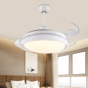 Round Bedroom Hanging Fan Light Modernist Acrylic Shade LED White Semi Flush Lamp Fixture with 4 Blades, 48