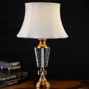1 Head Flare Reading Light Modernism Fabric Nightstand Lamp in Grey for Living Room