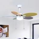 5 Blades White Cone Pendant Fan Lamp Modern Nordic Style Metal LED Semi Flush Mount Light, 36