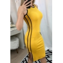 Edgy Looks Ladies' Yellow Sleeveless Round Neck Contrast Piped Slit Side Knitted Midi Sheath Tank Dress