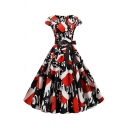 Vintage Popular Women's Short Sleeve Round Neck Bow Tie Waist Hat Santa Snowman Printed Maxi Pleated Swing Dress