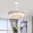 Modernist Circle 4-Blade Pendant Fan Lighting LED Acrylic Semi Flush Mounted Light in White, 48