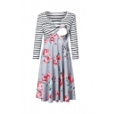 Casual Basic Women's Long Sleeve Round Neck Stripe Floral Patterned Nursing Long Pleated A-Line Dress