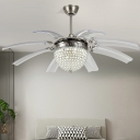 Crystal Dome Ceiling Fan Light Modernism Bedroom 48