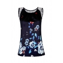 Casual Fancy Women's Sleeveless Round Neck Flower Butterfly Printed Contrasted Loose Tank Top