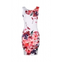 Elegant Sexy Ladies' White Sleeveless Round Neck Floral Pattern Mini Tight Tank Dress