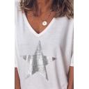 Fashionable Girls' Short Sleeve V-Neck Pentagram Patterned Relaxed Fit T-Shirt