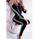 Girls' Active Long Sleeve Drawstring Striped Crop Fitted Hoodie with Skinny Sweatpants
