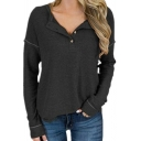 Simple Long Sleeve Lapel Neck Button Front Solid Color Relaxed Fit T Shirt for Women