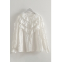 Preppy Women's Long Sleeve Crew Neck Button Down Ruffle Trim Tiered Loose Fit Shirt in White