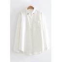 Casual Women's Long Sleeve Lapel Neck Embroidery Button Down Loose Fit Plain Shirt