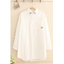 Trendy Long Sleeve Lapel Neck Button Down Cat Embroidery Striped Longline Oversize Shirt for Girls