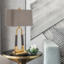 Fabric Tapered Task Light Modernism 1 Head Gray Night Table Lamp with Metal Base