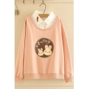 Korean Style Girls Long Sleeve Lapel Collar Japanese Letter Rabbit Graphic False Two-Piece Loose Sweatshirt