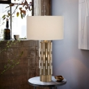 Contemporary 1 Bulb Reading Light White Cylinder Night Table Lamp with Fabric Shade