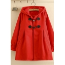 Fashion Classic Women's Long Sleeve Hooded Ruched Solid Color Oversize Wool Duffle Coat