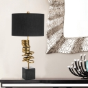 Straight Sided Shade Table Light Modernism Fabric 1 Bulb Small Desk Lamp in Black