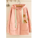 Fancy Girls' Long Sleeve Hooded Drawstring Bear Pattern Button Down Lace Up Pockets Panel Stringy Selvedge Loose Jacket
