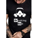 Stylish Street Summer Short Sleeve Crew Neck Letter BREAKING BAD Headset Printed Slim Fit Graphic Tee