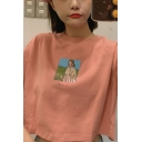 Cute Fashionable Short Sleeve Crew Neck Cartoon Women Printed Relaxed Cropped T-Shirt