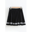 Cool Cute Black Elastic Rise Striped Print Pleated Mini A-Line Skirt for Girls