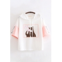 Cute Kawaii Girls Short Sleeve Drawstring Japanese Letter Bear Print Relaxed Graphic Hoodie