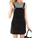 Fashionable Ladies Sleeveless Patched Pocket Corduroy Plain Short Shift Suspender Dress