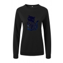 Womens Simple Long Sleeve Crew Neck Letter MEOW OR NEVER Cat Graphic Fitted Pullover Sweatshirt Top
