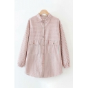 Pretty Girls Long Sleeve Lapel Collar Button Down Flap Pocket Striped Oversize Shirt