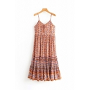 Ethnic Girls Sleeveless Bow Tie Front All Over Floral Printed Longline Ruffled Hem A-Line Pleated Orange Cami Dress