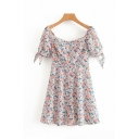 Gorgeous Ladies Short Sleeve Sequare Neck Bow Tied All-Over Floral Printed Mini A-Line Pink Dress for Beach