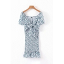 Chic Unique Short Sleeve V-Neck Bow Tied Front All-Over Flower Printed Ruffled Long Pleated Blue Dress