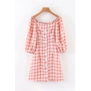 Pretty Three-Quarter Sleeve Square Neck Checker Patterned Button Down Mini A-Line Dress in Red