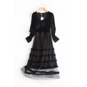 Amazing Long Sleeve Asymmetric Neck Patchwork Mesh Stringy Selvedge Long Pleated A-Line Gown Dress in Black